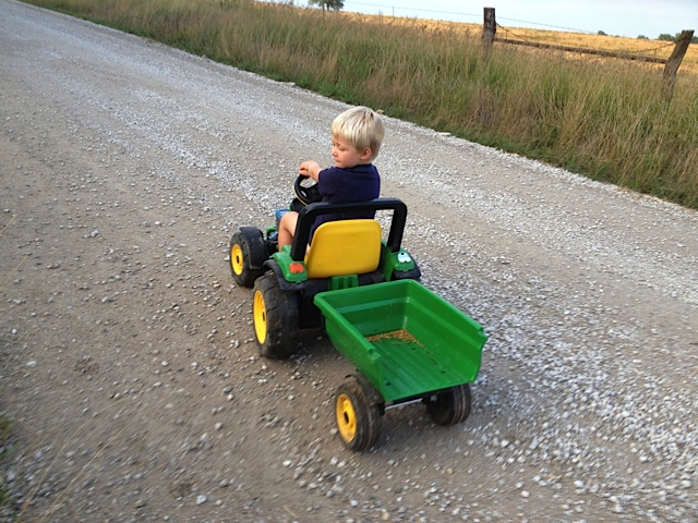 A grandson heading to the field